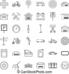 Garage icons set, outline style