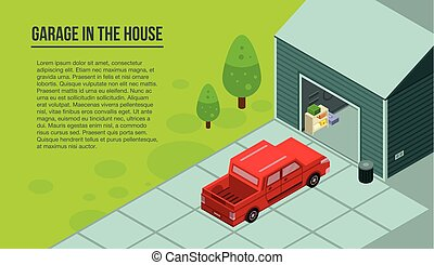 Garage in the house banner, isometric style