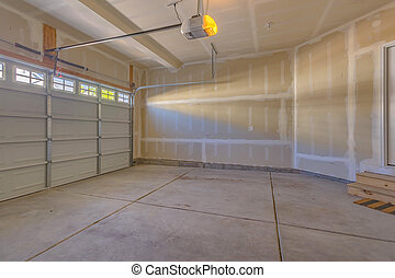 garage, ind, en, nye, konstruktion, hjem