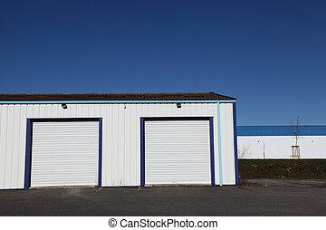 garage, industriale, due, porte