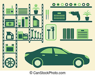 Garage interior and objects silhouettes set. Vector illustration.