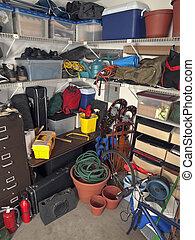 garage, lagerung, unordentlich