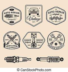 Garage logos set. Car repair emblems collection. Vector...