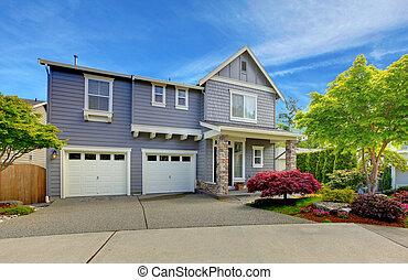 garage, maison, gris, deux, doors., américain
