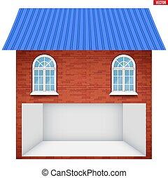 garage, maison, section, windows., plancher