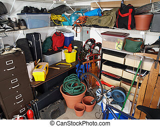 Garage Mess - Big mess in an over stuffed suburban garage.