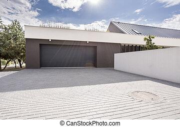 garage, modern, zufahrt, groß
