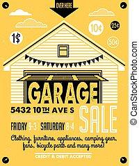 garage, plakat, verkauf
