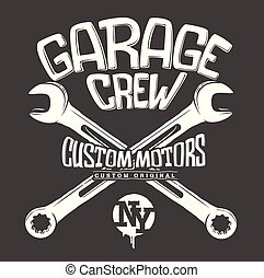 Garage print, crossed wrenches graphic vector design