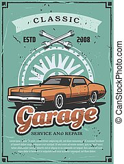 garage, reparatur, service, vektor, jahrgangsauto