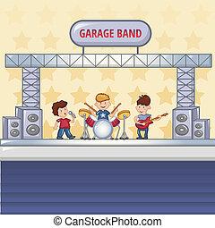 Garage rock band concept background. Cartoon illustration of garage rock band vector concept background for web design
