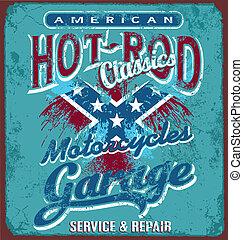 garage, rod chaud, motocyclette