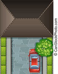 Garage rooftop and red car illustration