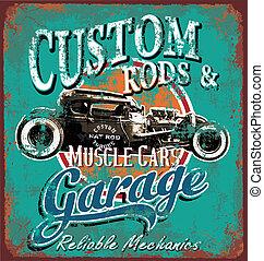 garage, rostig, stång, varm