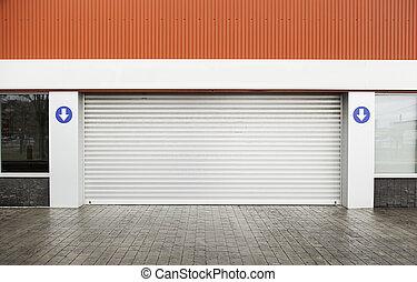 garage, rue, porte