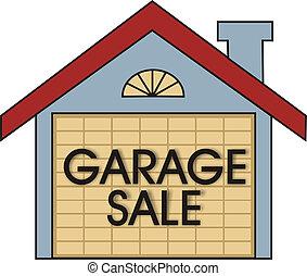 Garage Sale - Big garage sale sign on the garage door