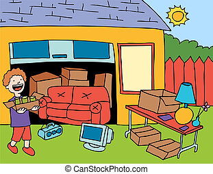 Garage Sale cartoon image of a man setting up for the day.