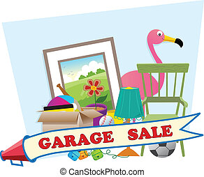 Garage Sale - Cute garage sale banner with household items...