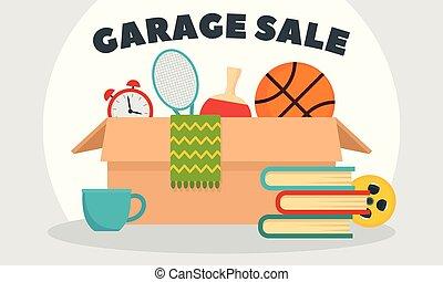 Garage sale concept banner, flat style - Garage sale concept...