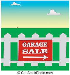 garage sale - Gaeage sale notice on the white fence