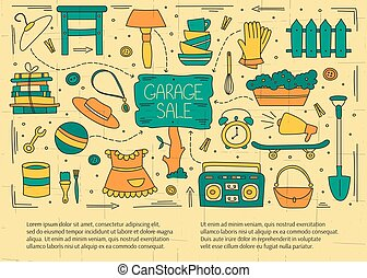 Garage sale elements - Garage sale, household used goods. ...