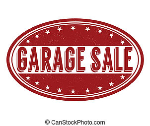 Garage sale grunge rubber stamp on white, vector...