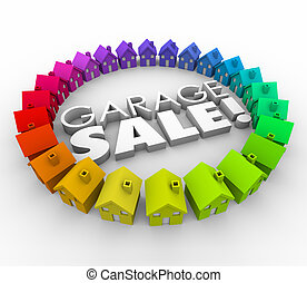 Garage Sale Houses Homes Advertising Rummage Shopping Event...