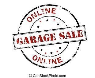Garage sale - Rubber stamp with text garage sale inside,...