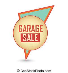 garage sale label - abstract garage sale label on white...