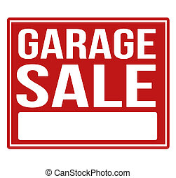 Garage sale red sign with copy space isolated on a white...