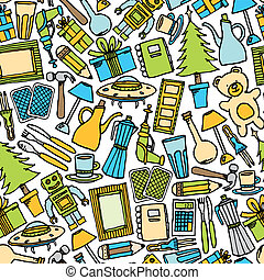 Garage sale seamless pattern / Colorful Object background
