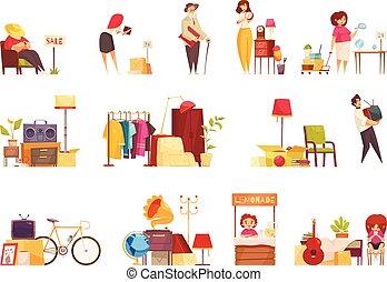 Garage Sale Set - Garage sale items sellers buyers visitors ...