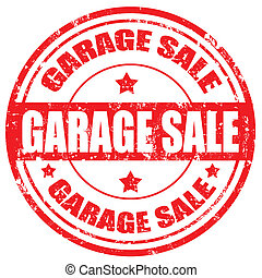 Garage Sale-stamp - Grunge rubber stamp with text Garage...