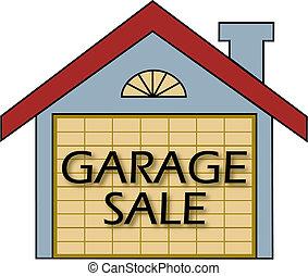 Garage Sale vector - Big garage sale sign on the garage door