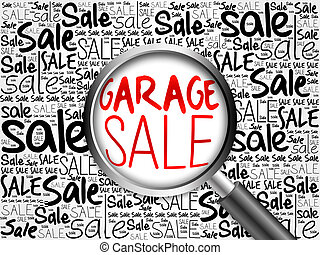 GARAGE SALE word cloud with magnifying glass, business concept
