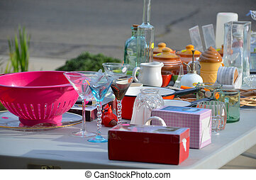 Garage sale, yard sale old unwanted items and utensils.