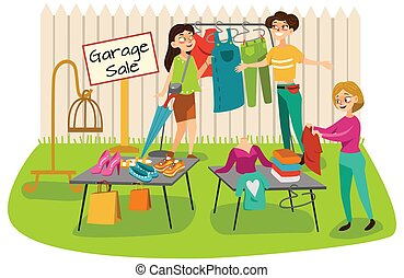 Garage Sale Young beautiful women at the weekly cloth market, girls choose clothes at the sale of used items, seller and buyer in market outdoor, shopping vector illustration.