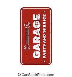 garage, service, réparation, voiture, vendange, rouillé, plaque, signe, métal, porte, plaque