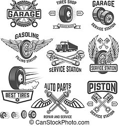 Garage, service station, auto parts store, filling station badges. Design element for logo, label, sign. Vector illustration