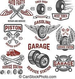 Garage, service station, tires shop, auto parts store. Design elements for logo, label
