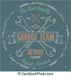 Garage service vintage label, tee design. Detroit classic, repair service typography print. T-shirt stamp, teeshirt graphic, premium retro artwork. Use also as emblem, logo on web projects. Vector