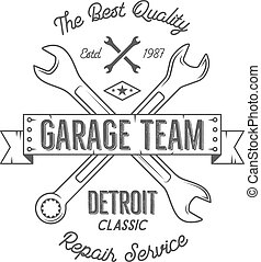 Garage service vintage tee design graphics, Detroit classic, repair service typography print. Black T-shirt stamp, teeshirt graphic, premium retro artwork. Best for emblem, logo. Vector