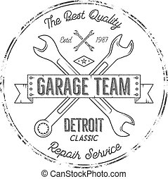 Garage service vintage tee design graphics, Detroit classic, repair service typography print. Black T-shirt stamp, teeshirt graphic, premium retro artwork. Use as emblem, logo on web projects. Vector