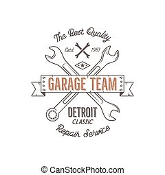 Garage service vintage tee design graphics, Detroit classic, repair service typography print. T-shirt stamp, teeshirt graphic, premium retro artwork. Use as emblem, logo, label. Vector.