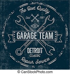 Garage service vintage tee design graphics, Detroit classic, repair service typography print. T-shirt stamp, teeshirt graphic, premium retro artwork. Use as emblem, logo on web projects. Vector