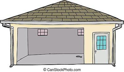 garage, singel, öppna, isolerat
