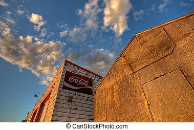 garage, station, gammal, övergiven, service