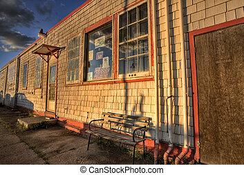 garage, station, vieux, abandonnés, service