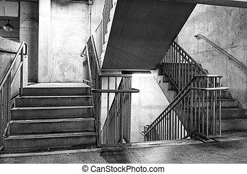 garage, stationnement, étapes, béton