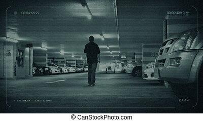 garage, stationnement, voiture, promenades, homme, cctv
